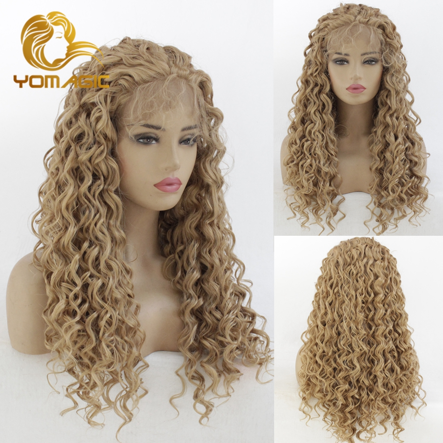 Yomagic Hair Light Brown Color Lace Front Wigs With Baby Hair Jerry Curly Realistic Glueless Synthetic Hair Wig Natural Hairline