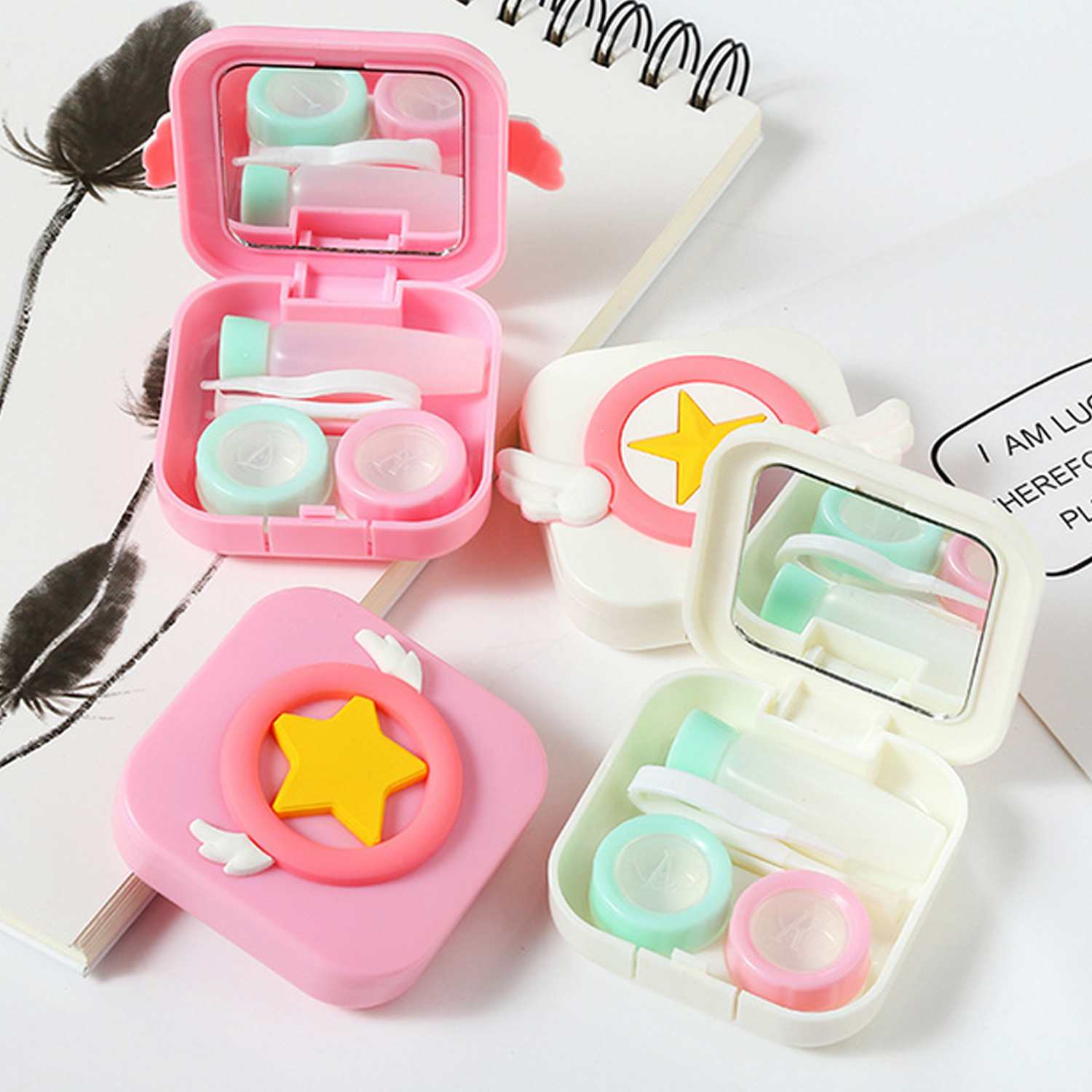 Cute Cartoon Contact Lens Case Storage Box With Tweezers Stick Solution Bottle HomeTravel Outdoor Daily Use Lenes Storage Box
