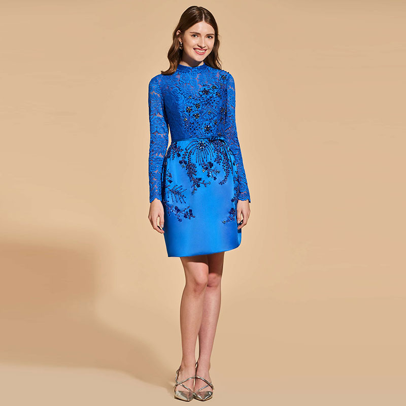 Tanpell Elegant Cocktail Dress Scoop Neck Long Sleeves Beading Button Short Woman Party Gown Lace Sheath Cocktail Dress