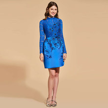 Tanpell Elegant Cocktail Dress Scoop Neck Long Sleeves Beading Button Short Woman Party Gown Lace Sheath