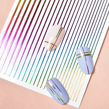 1 Sheet Nail Sticker Gold Silver Stripe Lines 3D Metal Strip Tape Multi-size Adhesive Nail Decoration Sticker DIY Nail Stickers