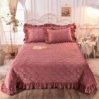 Veludo de cristal engrossar colcha lençol equipado cor sólida quente capa de cama coverlet (ou fronha) rei rainha tamanho da cama|Colcha|   -