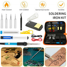 Soldering Iron Kit Adjustable Temperature 110V/220V 60W Solder Welding Tools Ceramic Heater Soldering Tips Desoldering Pump