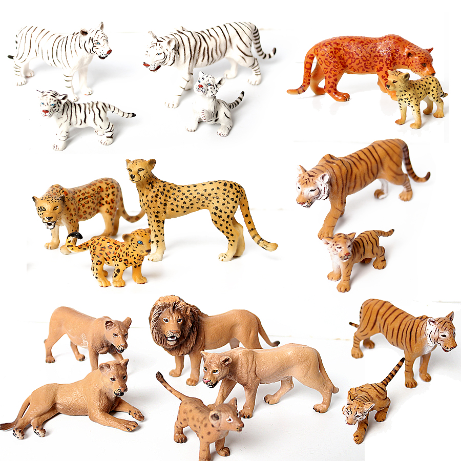 Genuine Wild Animal Kingdom White Tigeress Leopard Lion Panther Animal Figures With Cubmodel Educational Toys Cake Toppers