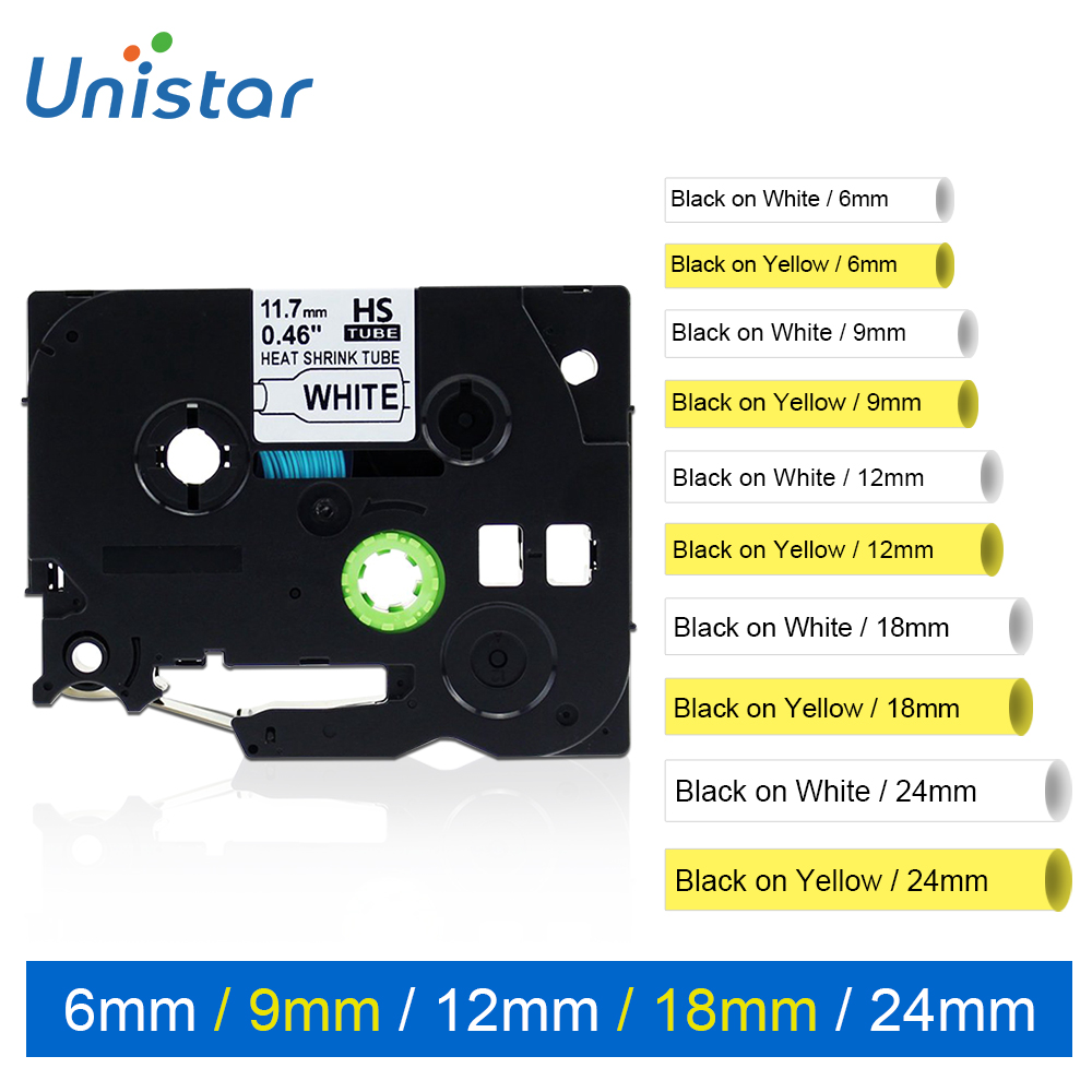 Unistar Compatible for Brother HSe-211 HSe-221 HS-231 HS241 HS251 HS611 HS621 HS631 HS641 HS651 Heat Shrink Tube Label Tape