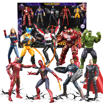 Marvel Avengers  Iron Man Action Figure Toys Black Panther Thanos Captain America Thor Spiderman Endgame Model Toys for Children the avengers arrow cufflinks marvel captain america thor batman iron man deadpool charm personality shirt brand cuff button gift