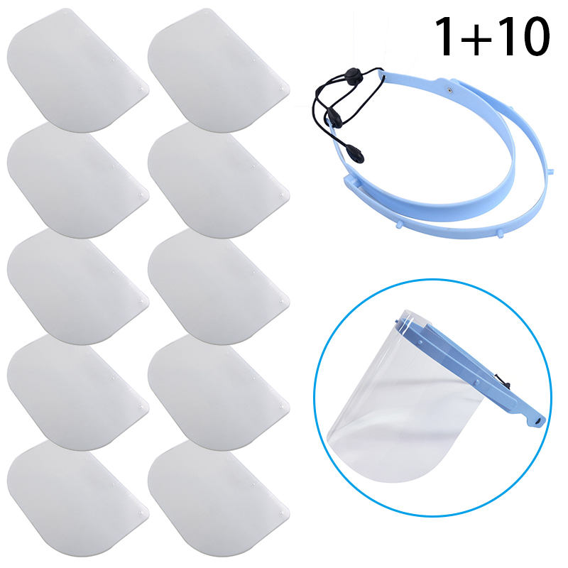 1pc Safety Face Shield Detachable With 10 Plastic Clear Protective Visor Anti-fog 28*19cm Effective Protection Face Cover