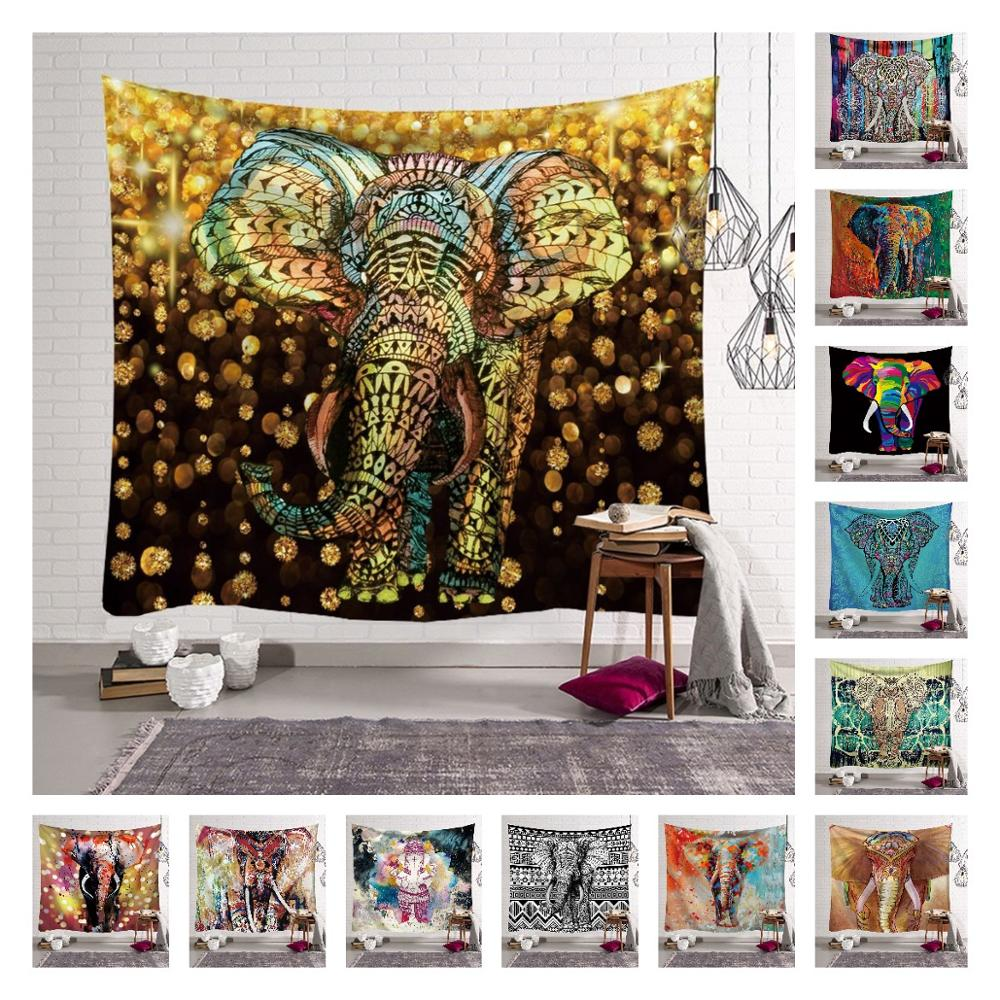 Elephant Mandala Tapestry Indian Bohemian Hippie Psychedelic Home Bedspread Decoration Wall Hanging Boho Cloth Curtain Blanket
