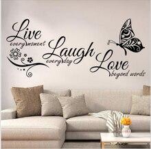 Viver rir amor borboleta flor arte da parede adesivo de parede moderno citações vinyls adesivos de parede decoração para casa sala estar