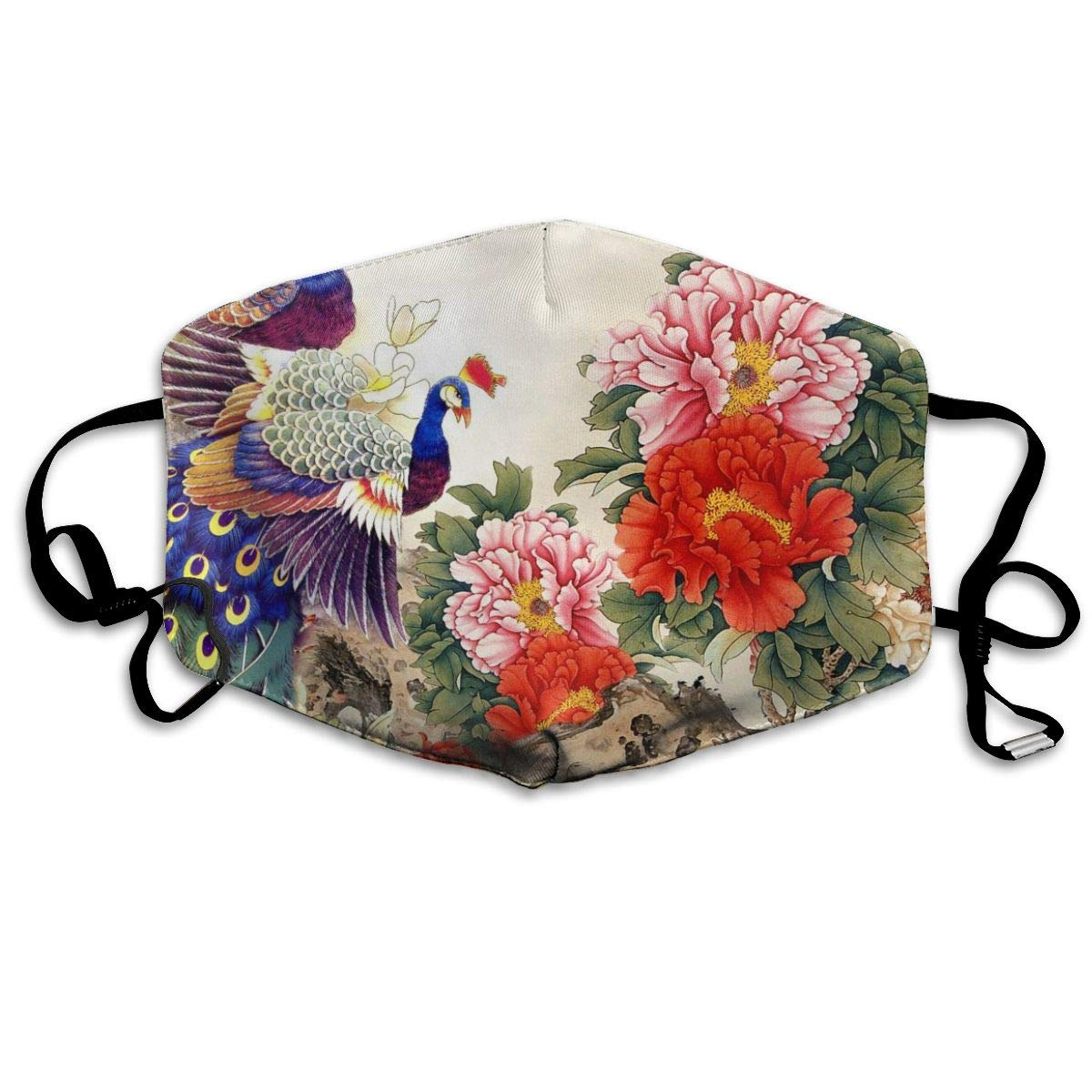 Mouth Mask Peacock Peony Flowers Ink Print Masks - Breathable Adjustable Windproof Mouth-Muffle, Camping Running For Women And