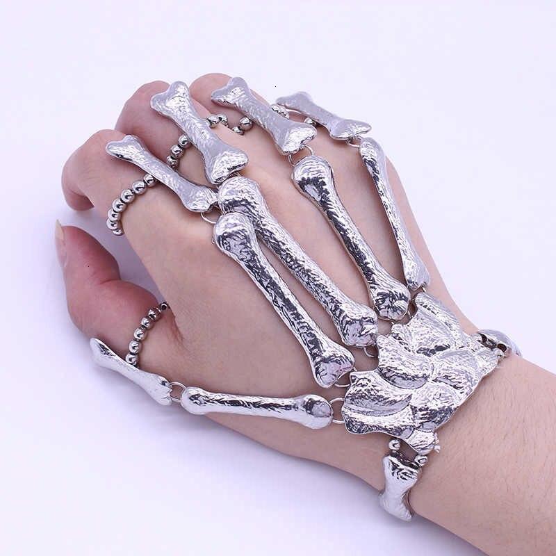 Женский готический панк браслет с скелетом и костями для ночного клуба, Модные металлические браслеты с черепом|Браслеты|   | АлиЭкспресс