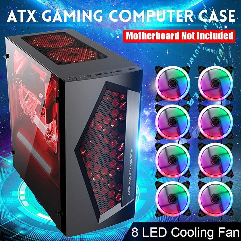 LEORY V3 ATX  8 Fan Ports USB 3.0 Computer Gaming PC Case For M-ATX/Mini ITX Motherboard Black/White 370 X 185 X 380mm