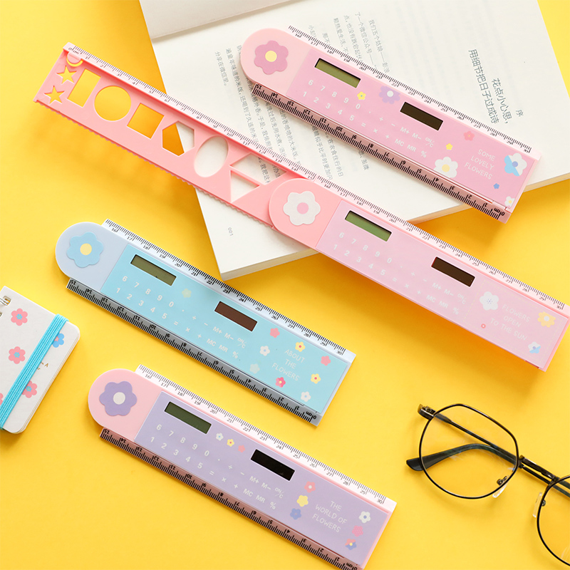 Folding Plastic Straight Ruler With Counter Ultra-thin Ruler Calculator  Measuring Tool Office Supplies Studen Stationery Gift