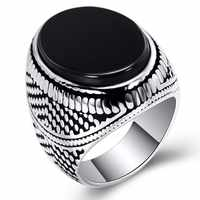 SECRET BOYS   Men's Fashion Classic Ring with Black Stones Anniversary Gift Jewelry to Wear at the Banquet