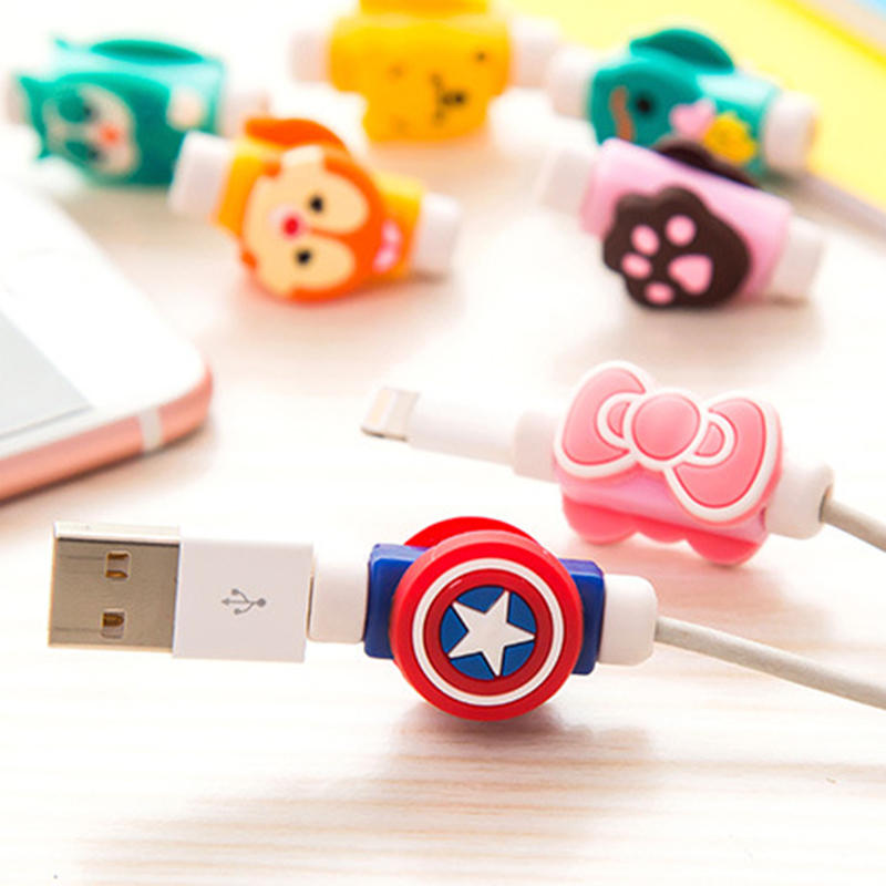 Creative Mobile Phone Data Cable Protector Cartoon Silicone Headphone USB Charging Cable Anti-break Protector Winder IOS Android
