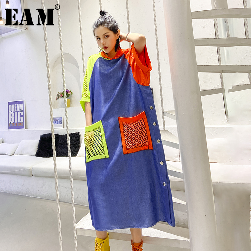 [EAM] Women Blue Grid Pocket Button Big Size Dress New Hooded Half Sleeve Loose Fit Fashion Tide Spring Summer2020 1T843