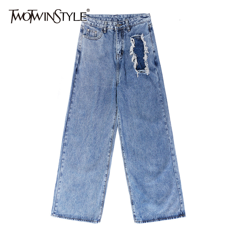TWOTWINSTYLE Ripped Hole Hit Color Wide Leg Denim Pants Female High Waist Loose Full Length Trousers For Women 2019 Fashion Tide