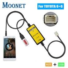 Moonet Автомобильный MP3 USB AUX адаптер 3,5 мм AUX Интерфейс cd-чейнджер для Toyota(6+ 6pin) Avensis RAV4 Auris Corolla Yaris QX005