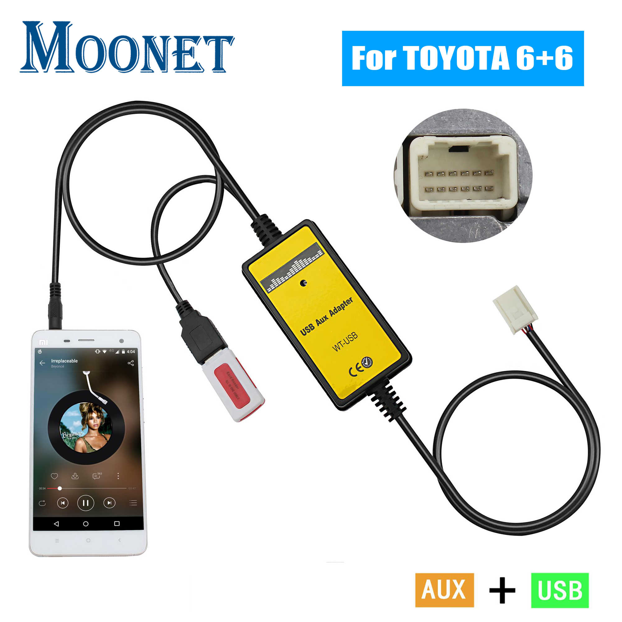 Moonet Auto MP3 USB AUX Adapter 3.5mm AUX Interface Cd-wisselaar voor Toyota (6 + 6pin) avensis RAV4 Auris Corolla Yaris QX005