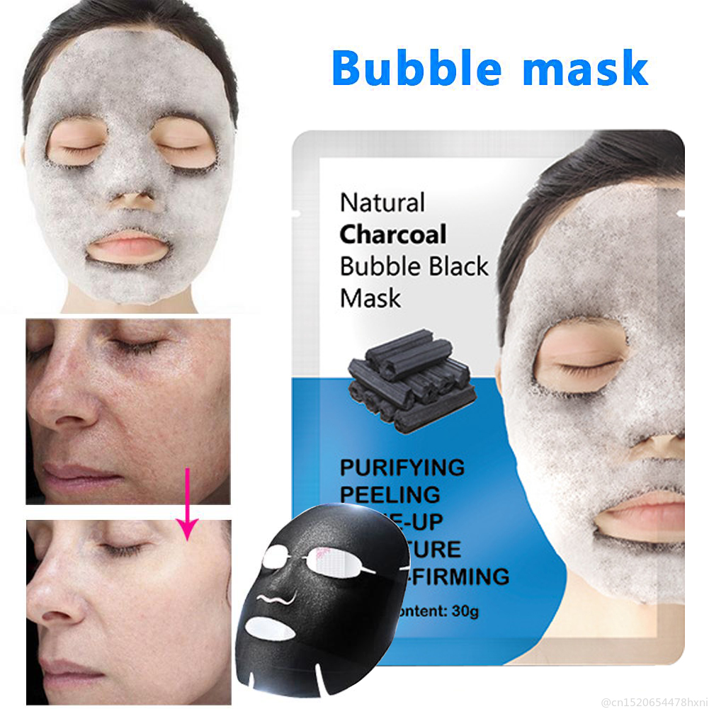 1Pcs Natural Detox Oxygen Charcoal Bubble Black Facial Mask Oil Control Blackhead Removal Face Peeling Mask Skin Care TSLM1