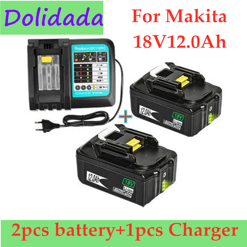 2PCS Original 18V12Ah Rechargeable Battery Li-Ion Battery Replacement Power Tool Battery for MAKITA BL1880 BL1860 BL1830+Charger