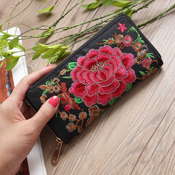 Ethnic Embroidery Flower Women Wallet Zipper Clutch Purse Handbag Bank Card Coin Pocket Credit Card Holder Phone Case Bag XB222 noenname handmade fashion flower embroidery design purse high capacity women card coin wallet national style ladys bag