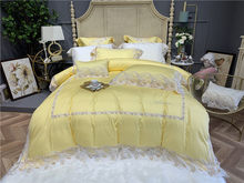 Feather Lace Edge Princess Duvet Cover Set Queen King size 4/7 Pcs Luxury Egyptian Cotton Bedding Set Bed sheet set Pillow case(China)