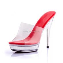 13CM ultra high heel sexy crystal sandals model performance