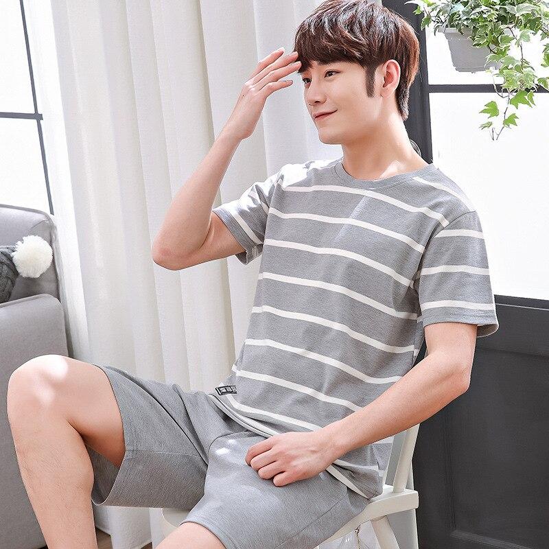 Men's Pajama Sets Summer Man Pajamas Set Simple Sleepwear Short Sleeve 100% Cotton Pajamas Men Short Top Pant Leisure Outwear