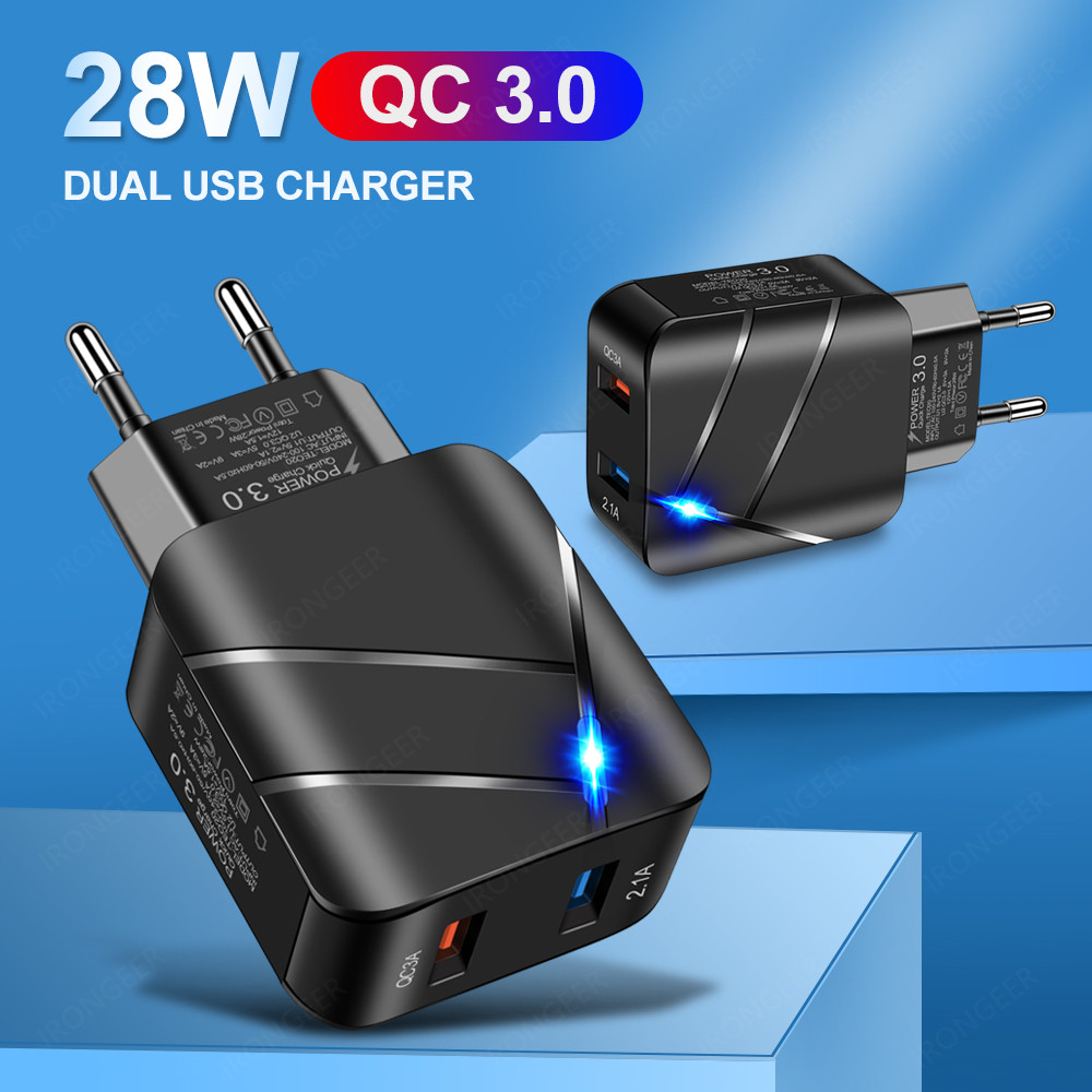 USB Charger Quick Charge 3.0 2 Port QC4.0 Fast Charging For iPhone Samsung Xiaomi Huawei Tablet Smart Phone LED Lighting Adapter