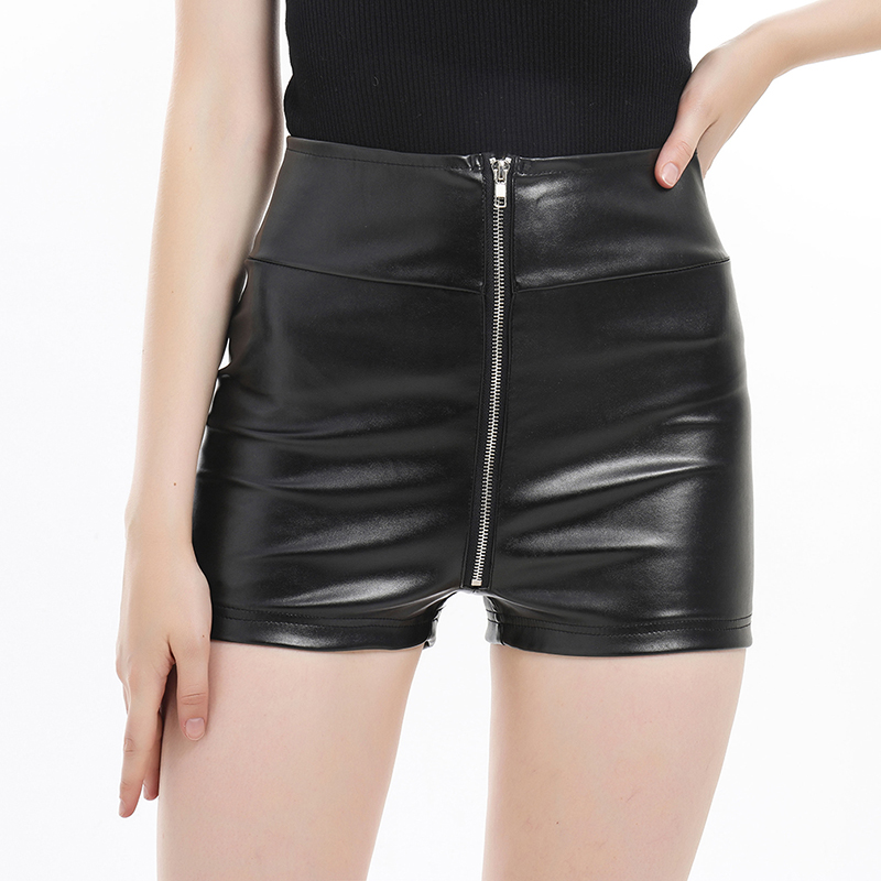 Women's Summer Sexy Zipper Faux Leather Shorts Slim High Waist Solid Color Shorts Night Club Wear Short Pants