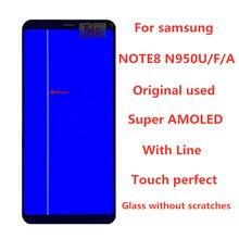 삼성 Galaxy NOTE8 LCD N950 N950F 디스플레이 터치 스크린 교체 부품 라인 스크린 용 라인 디스플레이가있는 원본 AMOLED