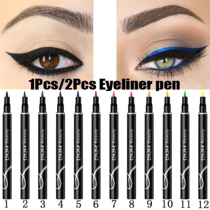 DNM-Bolígrafo delineador de Color de 12 colores que no florece, delineador de ojos de larga duración, resistente al agua y al sudor, maquillaje líquido para ojos TSLM2