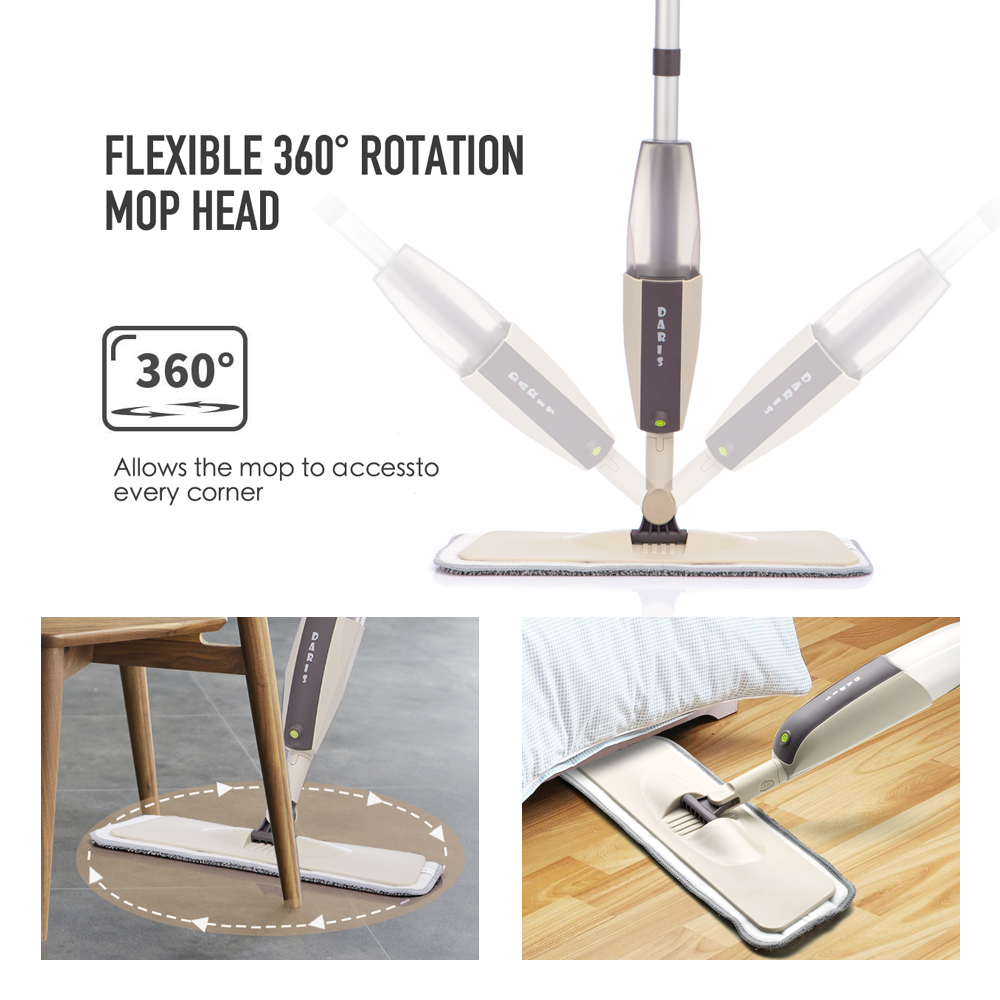 Spray Floor Mop with Reusable Microfiber Pads 360 Degree Handle Mop for Home Kitchen Laminate Wood Ceramic Tiles Floor Cleaning-2