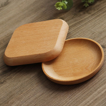 1pc Square /Round Cake Bowls orphanages home / restaurant / School serving dessert tray wood dish for sushi tableware image