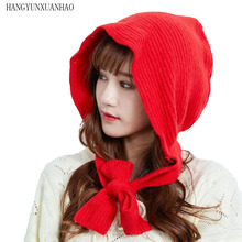 2019 New Winter Accessories for Women Thick Warm Beanie Hat Scarf Set Ladies Knitted Wool