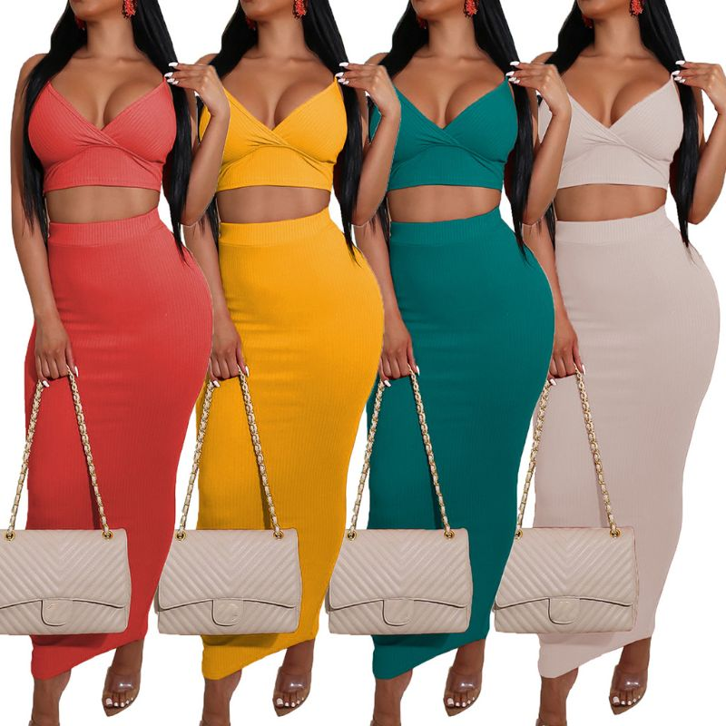Female Solid Color 2 Piece Outfits <font><b>Set</b></font> Spaghetti Strap Sexy V-Neck Crop Top Bodycon Split Maxi <font><b>Skirt</b></font> <font><b>Ribbed</b></font> Knit Dress image