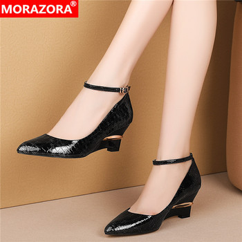 MORAZORA 2020 New Brand genuine leather women single shoes fashion high heels pointed toe women pumps buckle simple party shoes