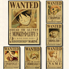Retro Posters Painting Luffy Anime Room/bar-Decor One-Piece Modern Classic for Reward-Order