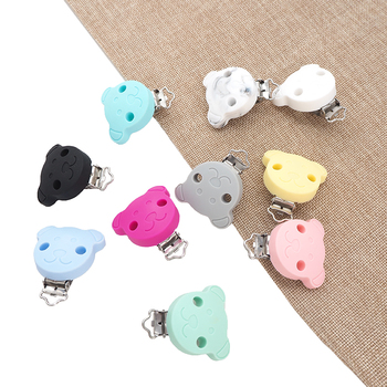 Chenkai 50PCS Silicone Bear Clips Baby Animal Pacifier Clip Dummy Smoother Holder For DIY Infant Chewable Pacifier Chain Gift