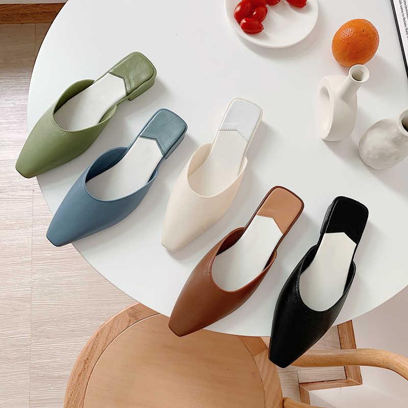 Moda sivri burun katır yaz kadın terlik şeker renk Flats Slip-on tatil bayanlar sandalet slaytlar kauçuk kadın ayakkabı