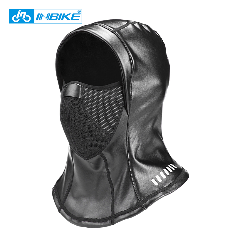 INBIKE Leder Ski Maske Winddicht Fleece Thermische Sport Winter Half Face Mask Neck Warmer Cap Hut Headwear Männer Radfahren Balaclava
