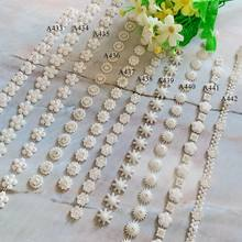 1 yard Rhinestone Chain Pearl Crystal Chain Sew On Trims Wedding Dress Costume Applique
