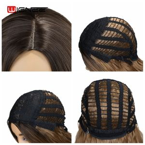 Image 5 - Wignee Ombre Brown Synthetic Wigs for Women Middle Part Long Wave Natural Hair For American Fiber Daily/Party/Cosplay Hair Wigs
