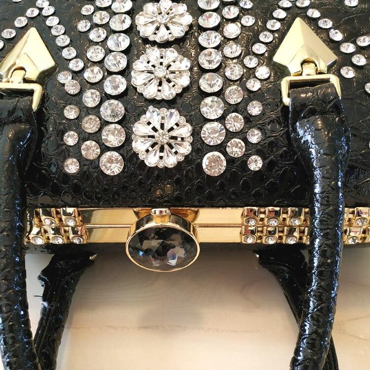 Diamante crocodilo grão de couro mulher pacote