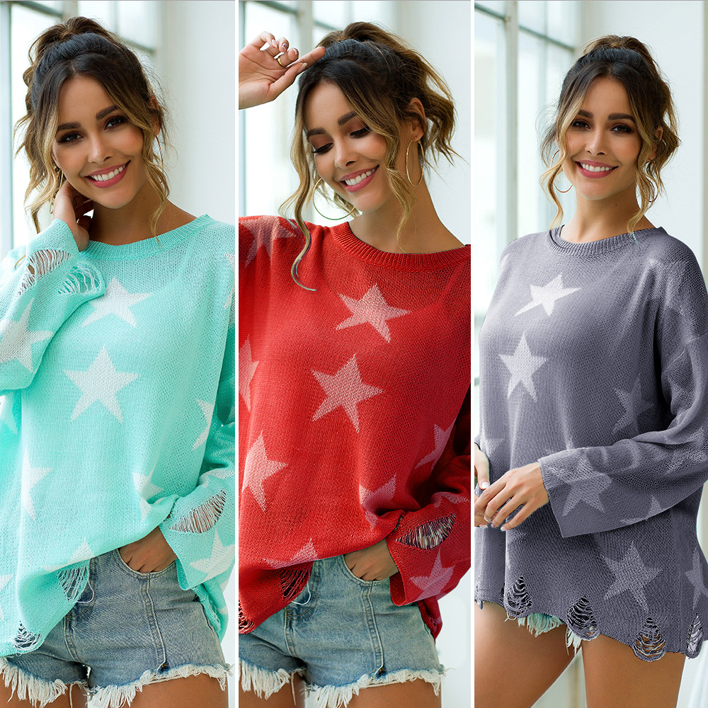 Autumn/Winter New Women's Three-color Five-pointed Star Breakhole Loose Knitted Sweater Top Sexy Elegant Casual Top Pullovers
