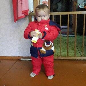 Image 5 - 2018 nuevos trajes de invierno para niños, chaqueta de plumón de pato para niños y niñas, abrigos y abrigos + Pantalones de 2 uds., conjunto cálido de Snowsuits para niñas