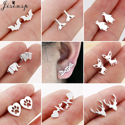 Jisensp Trendy Geometric Earings for Women 2020 Small Deer Paw Fish Tail Stud Earrings Simple DNA Earing Jewelry Earrings Stud