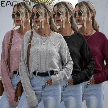 Korean Fashion Ladies Full Sleeve Women Knitting Sweater Solid O-Neck Pullover Street Style Hemp Pattern Jumper Loose Sweater werynica korean fashion ladies women knitting sweater houndstooth o neck batwing sleeve pullover loose cashmere sweater hot sale