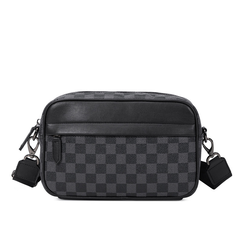 Europe And America Fashion Men Crossbody Bag 2019 New Style Black Plaid Bag Casual Messenger Bag